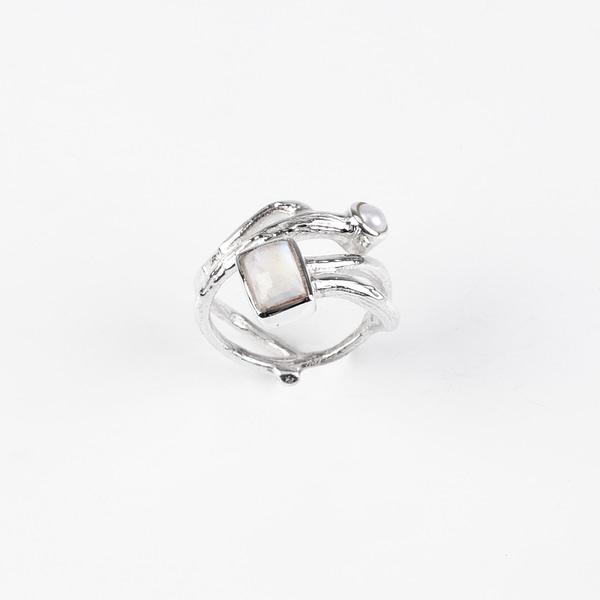 Ring Silber mit Mondstein/Perle