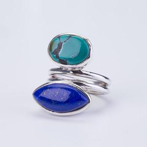 Ring Silber mit Türkis/Lapis Lazuli