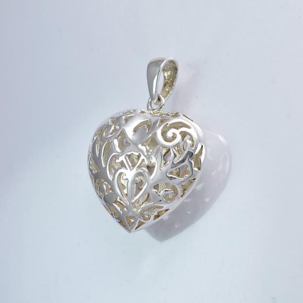 Anhänger Silber 3D-Herz