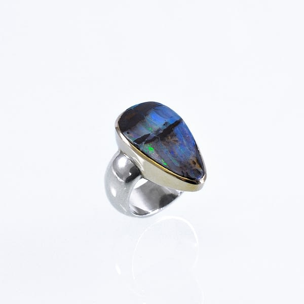 Ring Silber/Gold mit Opal