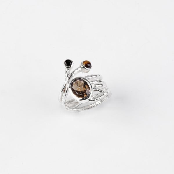 Ring Silber mit Rauchquarz/Tigerauge/Onyx