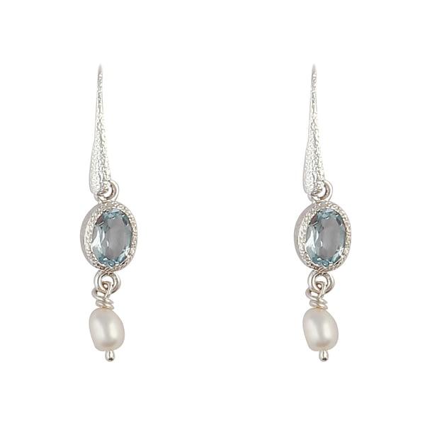 Ohrhänger Silber mit Blautopas & Perle